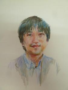 友野の似顔絵の原画(描いていただいた武蔵野美術大学のスタッフさんに,掲載許可をいただきました。)